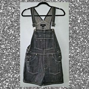 Black Denim Overall Shorts